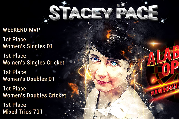 Stacey Pace Alabama open winner profile. 1st women's singles 01, 1st women's singles cricket, 1st women's doubles 01, 1st women's doubles cricket, 1st mixed trios 701