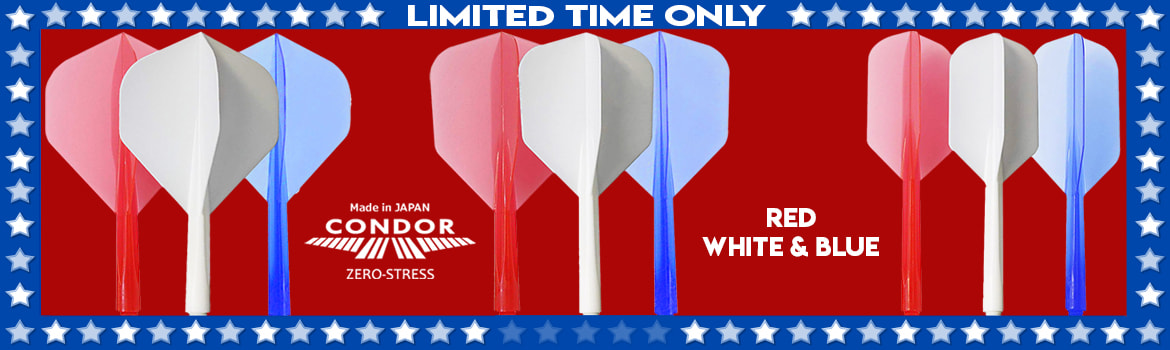 349f460a ... Condor Zero Stress Flight System - Red, White & Blue Introducing Fit  USA flights Harrows Wolfram Infinty Soft and Steel tip Darts ...